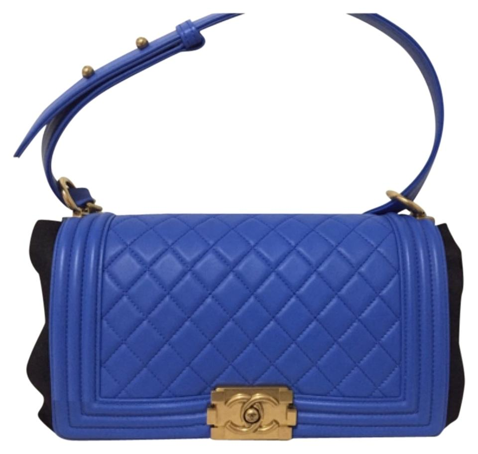 a400ca44e001d1 Chanel Boy Ghw Royal Blue Lambskin Shoulder Bag - Tradesy