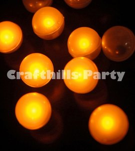 Amber / Yellow 48 Pcs Led / Fairy Mini Glowing Waterproof Floating Ball Light For Party Floral Ceremony Decoration