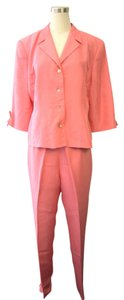 David Warren New York Bright Pink Silk 2 Piece Pant Suit Set Size 14