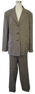 Le Suit Le Suit Brown Checkered Plaid 2 Piece Jacket/Pant Set Size 18