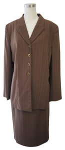 Le Suit Le Suit Chocolate Brown Striped 2 Piece Jacket/Skirt Suit Set Size 18