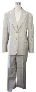 Tahari Tahari Taupe/White Pin Striped 2 Piece Jacket/Pant Suit Set Size 18