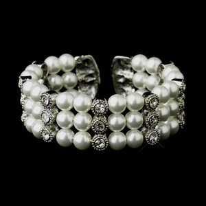 Elegance By Carbonneau White Pearl And Rhinestone Bridal Cuff Bracelet