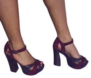 Report Signature Platform Strappy Shades of Plum Pumps