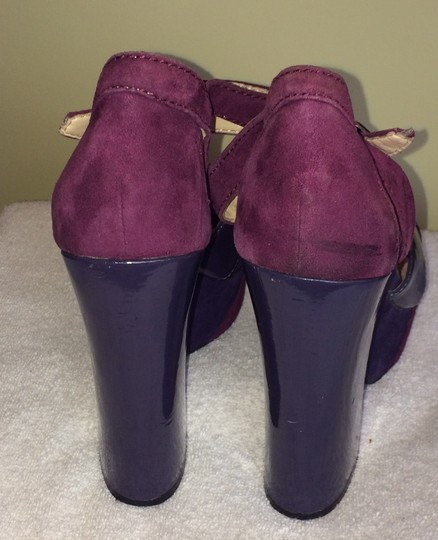 Report Signature Platform Strappy Peep Toe Shades of Plum Pumps