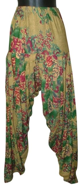 Item - Green Floral Print Chinese Drop Crotch Flower New Pants Size 16 (XL, Plus 0x)