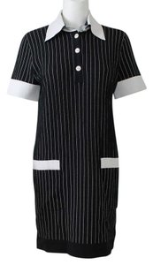 Chanel short dress Black and White Pinstripe Nylon Short Tshirt Above Knee on Tradesy