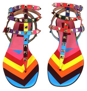 Valentino Silver Hdw Studded Multicolor Sandals