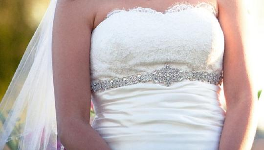Other Bridal Dress Gown Beaded Jeweled Crystal Belt Sash Under Bust Trim