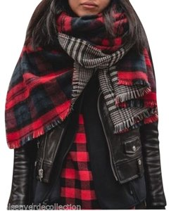 Zara New Plaid Double-sided Oversized Blanket Scarf Red Multi