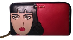 Prada Red Leather Pop Girl Face Wallet Clutch