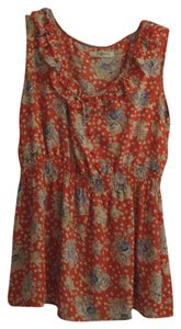Romy Top Orange with colored flowers
