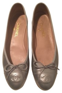 Chanel Ballet Patent Leather silver Flats