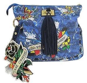 Ed Hardy The Corps Denim Blue Clutch