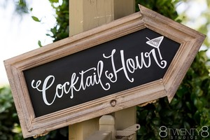 PRIVATE PARTY Black Chalkboard/White Writing Cocktail Hour Directional Sign Ceremony Decoration