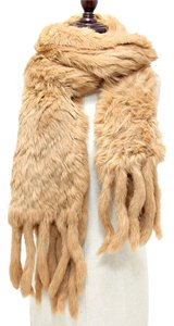 Genuine Fur Scarf Wrap Beige Neckwarmer With Pockets