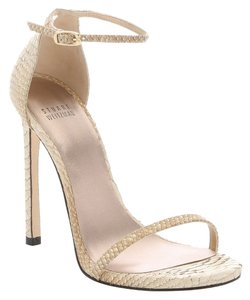 Stuart Weitzman Soy and Gold Tipped Python Sandals