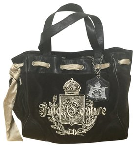 Juicy Couture Daydreamer Velour Tote in black and brown