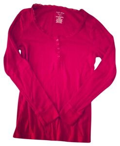 Sonoma Longsleeve Buttons Lace Lace Trim Sleepwear Active Wear Comfortable Cotton T Shirt Red