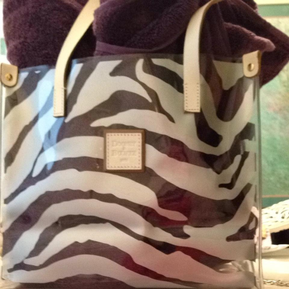 Dooney Bourke Tote In Clear With Silver Zebra Print 1234567