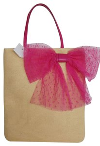 RED Valentino Straw Tote in Tan with Pink