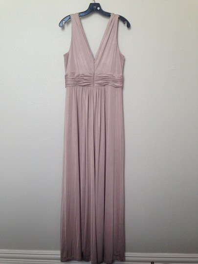 Calvin Klein Nude/Pink Floor-length Grecian-inspired Formal Bridesmaid/Mob Dress Size 12 (L)