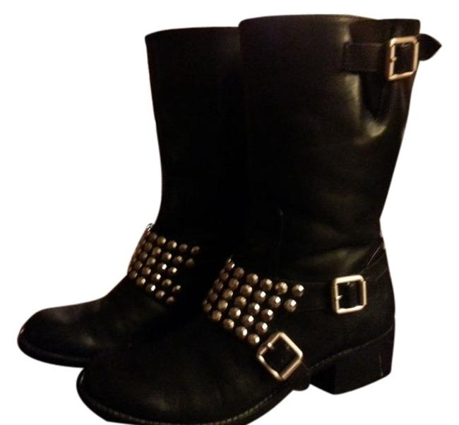 Item - Black with Silver Leather Bcbg Strap Buckles Boots/Booties Size US 8 Regular (M, B)