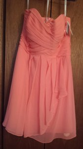 David's Bridal Coral Reef Chiffon Strapless Crinkle Destination Bridesmaid/Mob Dress Size 12 (L)
