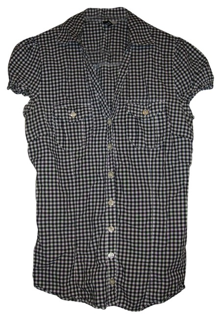 H&M Button Down Shirt black/white