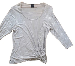 Ella Moss Striped Knot Scoopneck Dolman Sleeve T Shirt Tan & White