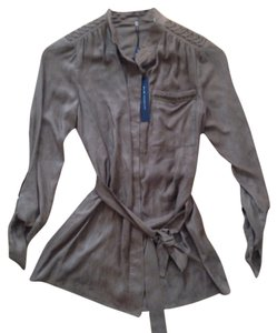 Elie Tahari Suede Cowboy Button Down Shirt Brown