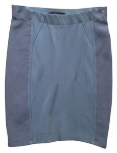 BCBGMAXAZRIA Pencil Knit Ribbed Mini Skirt Grey