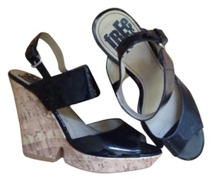 Free Press Leather Black Patent Wedges