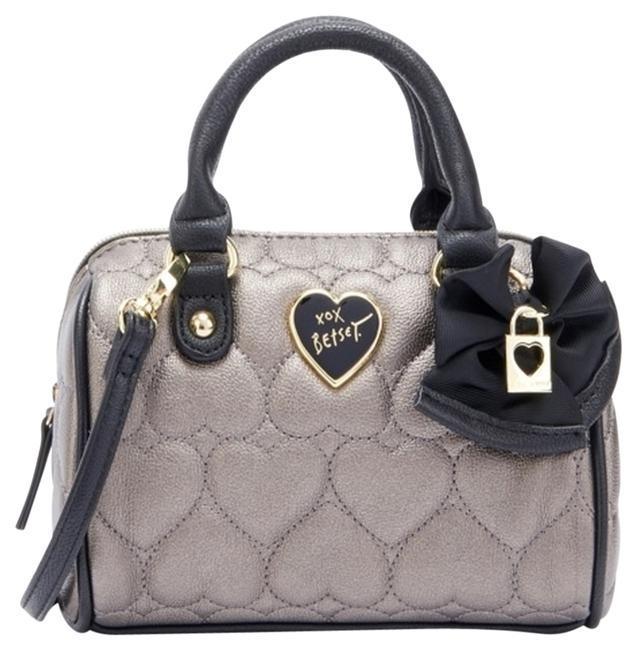 Item - Mini Heart Quilted Purse Grey Faux Leather Satchel