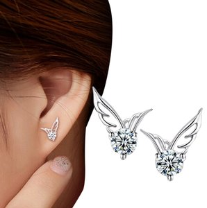 Other 14K White Gold Filled Wing Cubic Zirconia Stud Earrings J1481