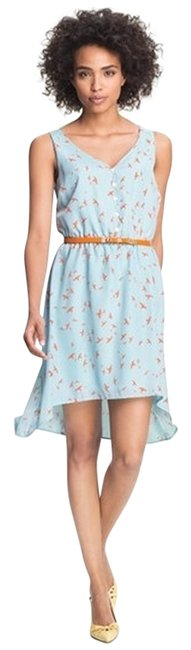 Olive + Oak short dress Sky Blue with Orange Bird Highlow Belt High Low Hi Belt Belted Spring Summer Fluttery Feminine Bird Free Cute Nordstrom on Tradesy