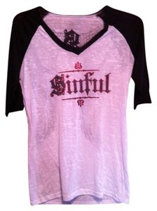 Sinful T Shirt White & Black