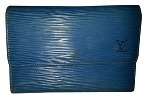 Louis Vuitton LOUIS VUITTON Wallet Purse Trifold Monogram Leather Blue Vintage