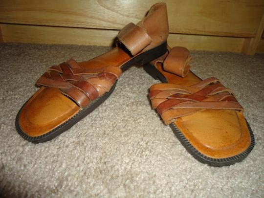 Cabin Creek Leather Braided Camel Sandals