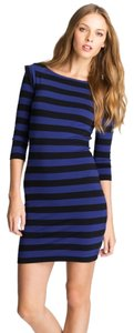 French Connection Fcuk Bodycon Stretchy Stripes Spandex Cap Sleeves 3/4 Sleeves Body Con Stripes Dress