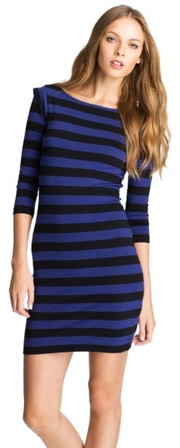 French Connection Fcuk Bodycon Stretchy Stripes Spex Cap Sleeves 3/4 Sleeves Body Con Stripes Dress