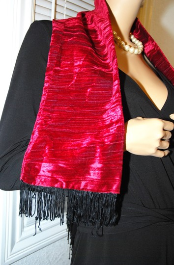 PAULACLAUDINE VELVET SCARF Red Wine Colored w/ beautiful black tassles by PAULACLAUDINE