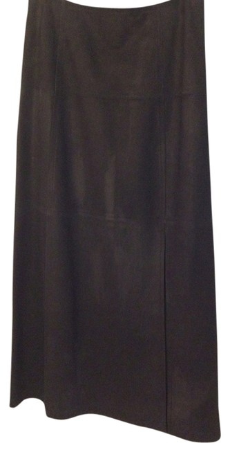 Ellen Tracy Suede Leather Skirt Black