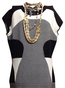 Diane von Furstenberg short dress color block black, gray cream on Tradesy