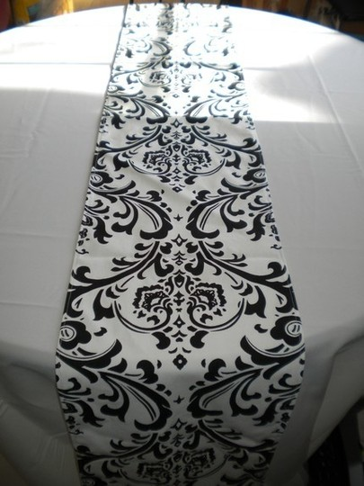 Black Custom Damask Table Runners and Candle Holders Tablecloth