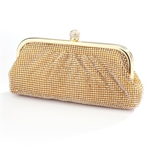 Mariell Gold Two Sided Crystal Covered Evening Bag Purse