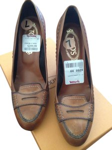 Tod's Penny Loafter Loafer Drivers Work Casual Preppy Modern Brown Leather 7.5 Cognac Wedges