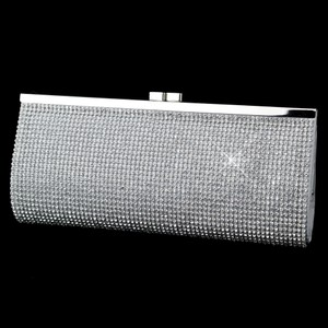 Elegance By Carbonneau Silver Rhinestone Covered Bridal Purse Evening Bag
