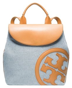 Tory Burch Brown Beige Tan Nude Blue Denim Canvas Leather Textured Embroidered Embellished Lonnie Logo Reva Monogram Gold Gold New Backpack