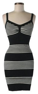BCBGMAXAZRIA Silk Striped Sheath Dress